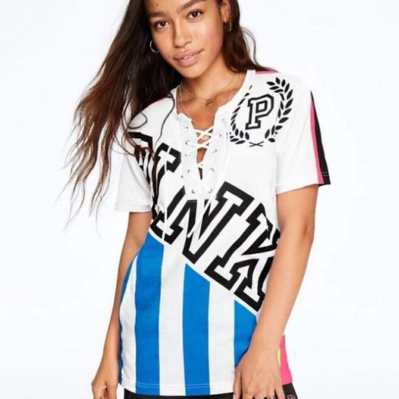979236da96423 Victoria secret PINK campus lace-up stripe tee NWT